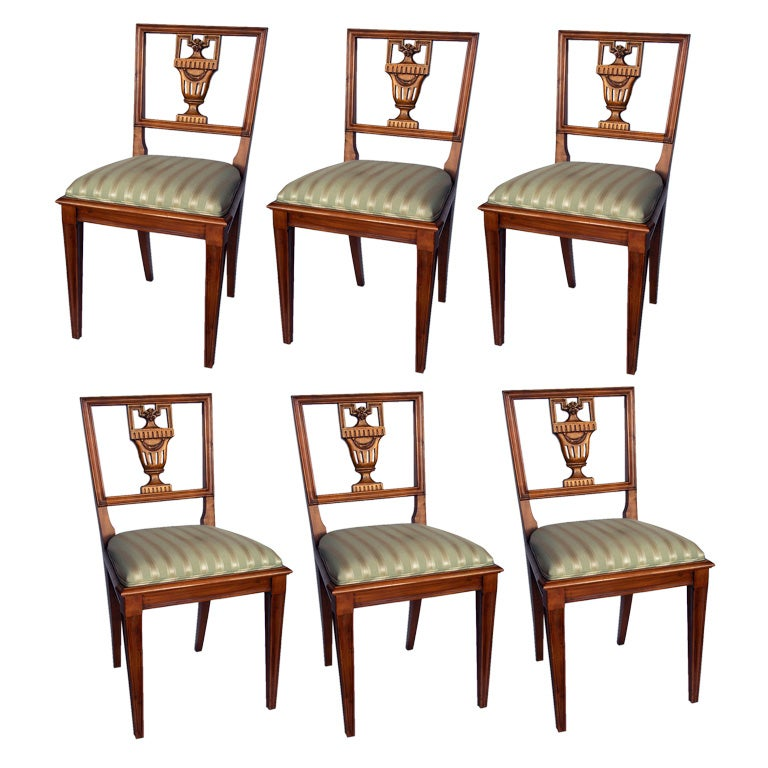 Set of Six Neoclassical Style Dining Chairs Italian For Sale