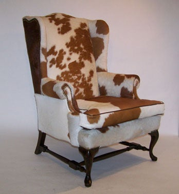 Pair of Queen Anne Style Cowhide Upholstered Wing Chairs 2