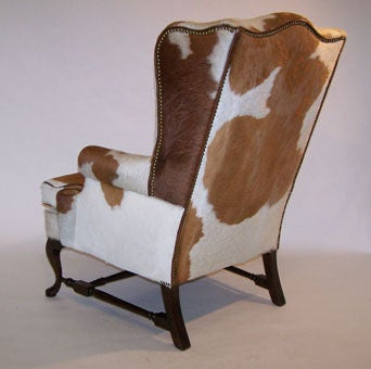 Pair of Queen Anne Style Cowhide Upholstered Wing Chairs 3