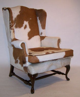 Pair of Queen Anne Style Cowhide Upholstered Wing Chairs 4