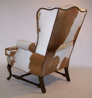 Pair of Queen Anne Style Cowhide Upholstered Wing Chairs 5