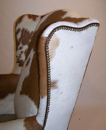 Pair of Queen Anne Style Cowhide Upholstered Wing Chairs 6