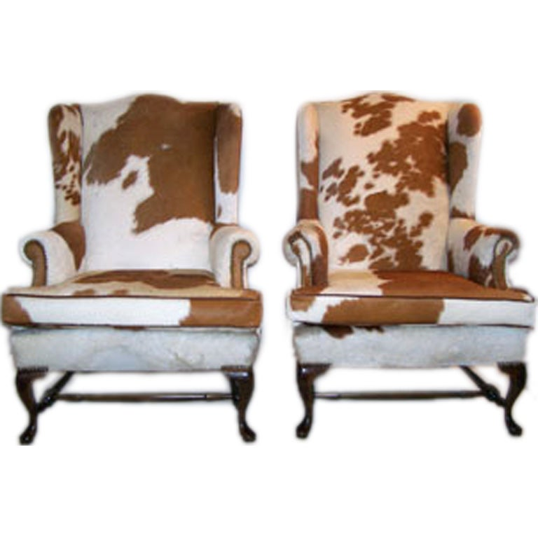 Pair Of Queen Anne Style Cowhide Upholstered Wing Chairs