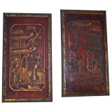 Pair of 19thC Chinese Wood Panels