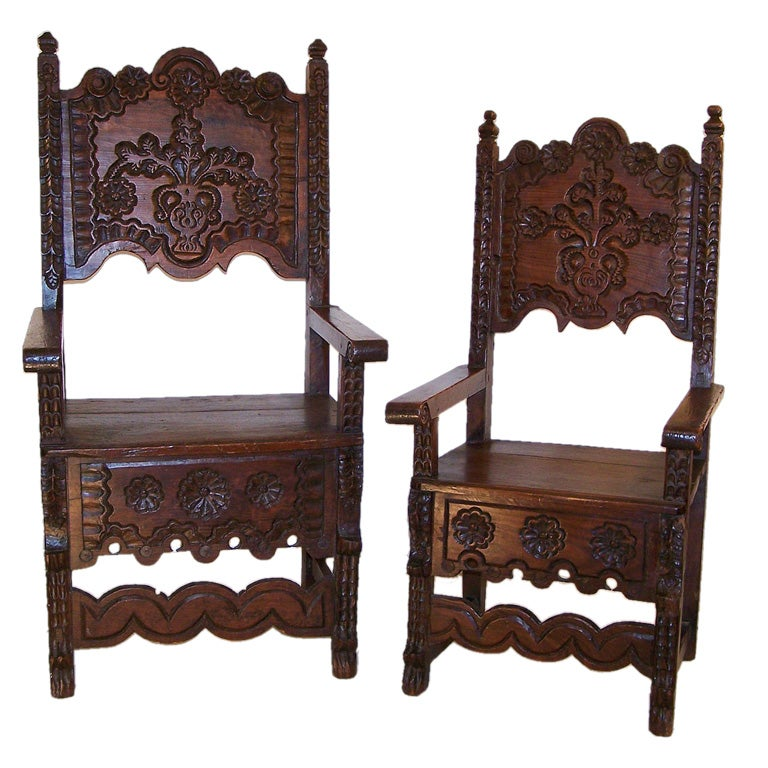 Spanish Colonial Husband And Wife Chairs At 1stdibs