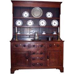 George III Oak Dresser Buffet, England, Late 18th Century