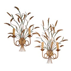 Pair Two Light Gilt and Painted Wheat Tole' Sconces, Italian Circa 1950