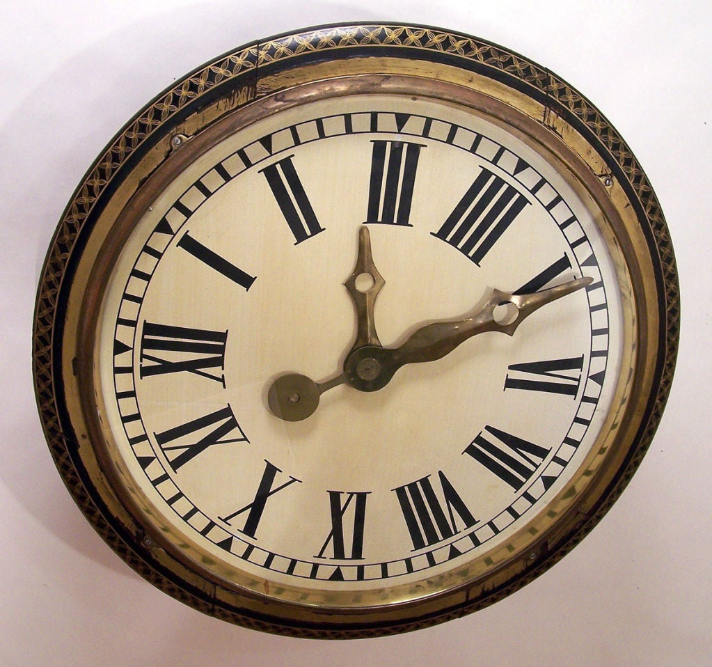 Large Antique Wall Clock At 1stdibs
