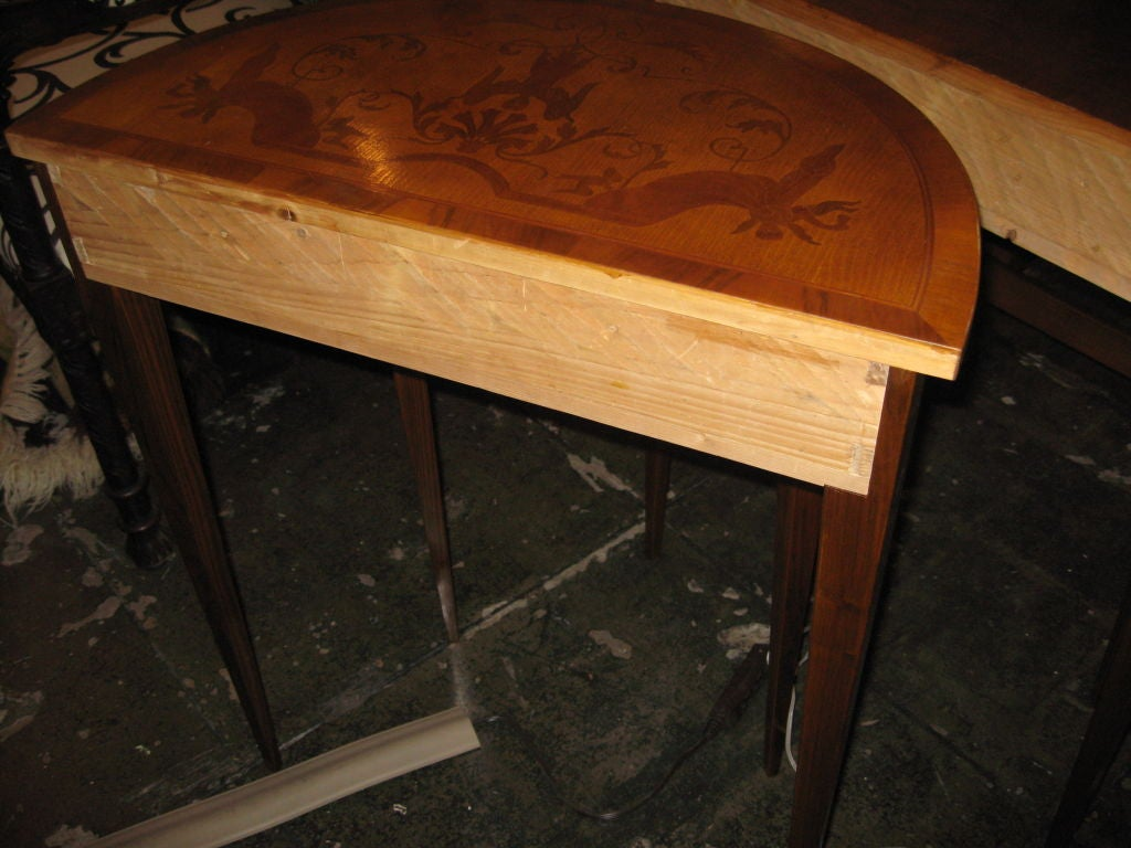 Pair of demi lune italian tables at 1stdibs for Table demi lune extensible
