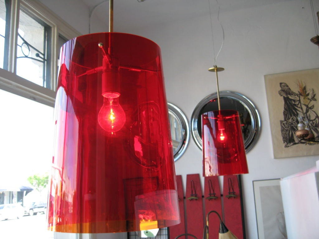 Pair of large Italian light fixtures .Glass is red fume color Glass net is 15x11 inches .  Pls note: Item is located at Beverly Store 7274 Beverly Blvd  Los Angeles, CA 90036