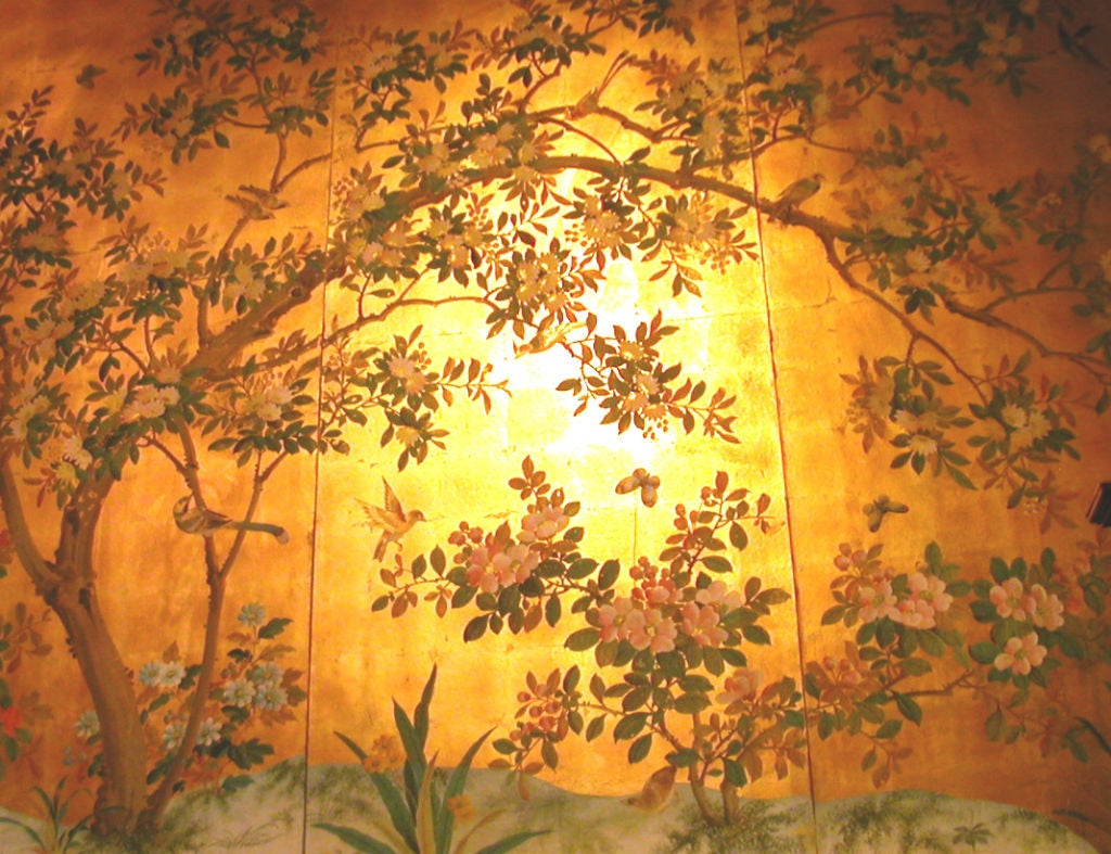 Four panels chinese hand painted wallpaper in gold leaf at 1stdibs