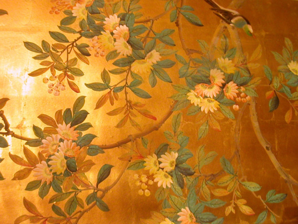 Four panels chinese hand painted wallpaper in gold leaf at for Gold wallpaper for walls