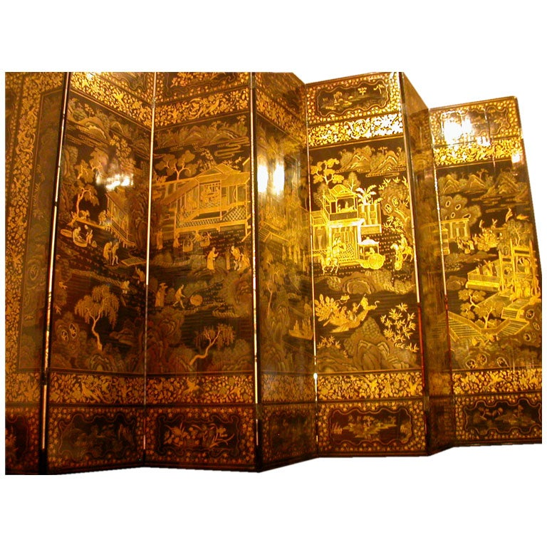 Chinese Export Black And Gilt Lacquer Eight Panel Screen