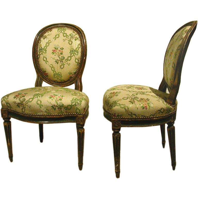 Set of four louis xvi painted and gilt chaises at 1stdibs - Chaises louis 16 ...