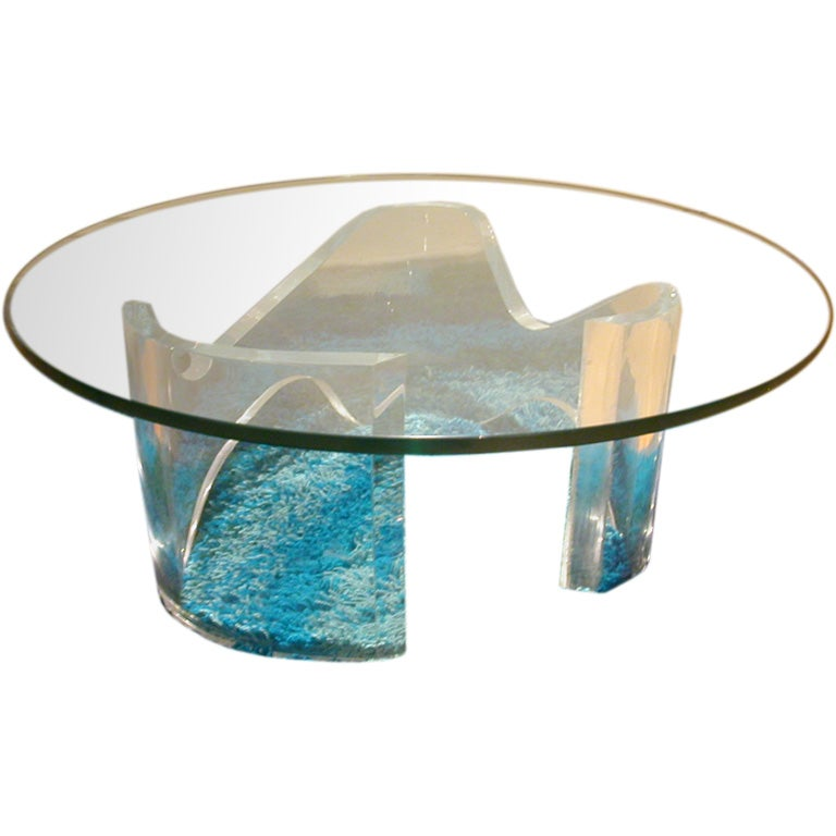 Vintage Modern Lucite Base Glass Top Coffee Table At 1stdibs