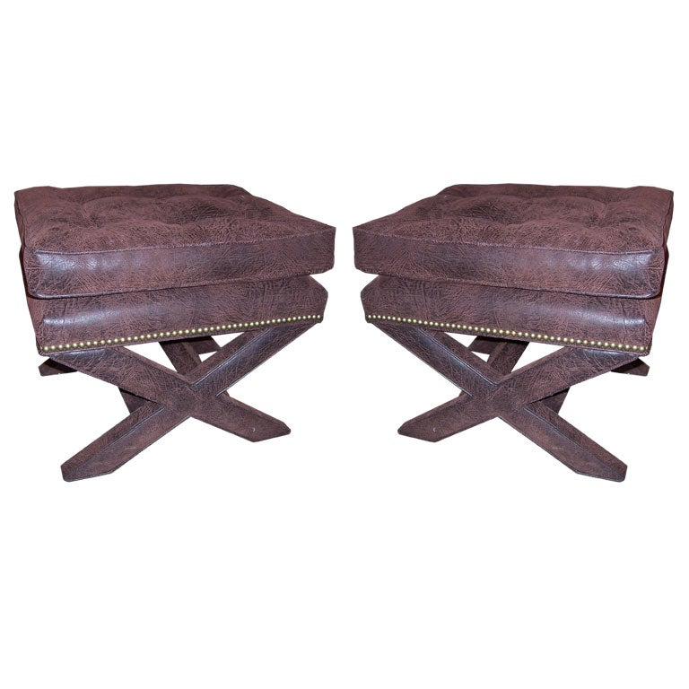 Pair Of Nail Headed Upholstered X Form Benches At 1stdibs