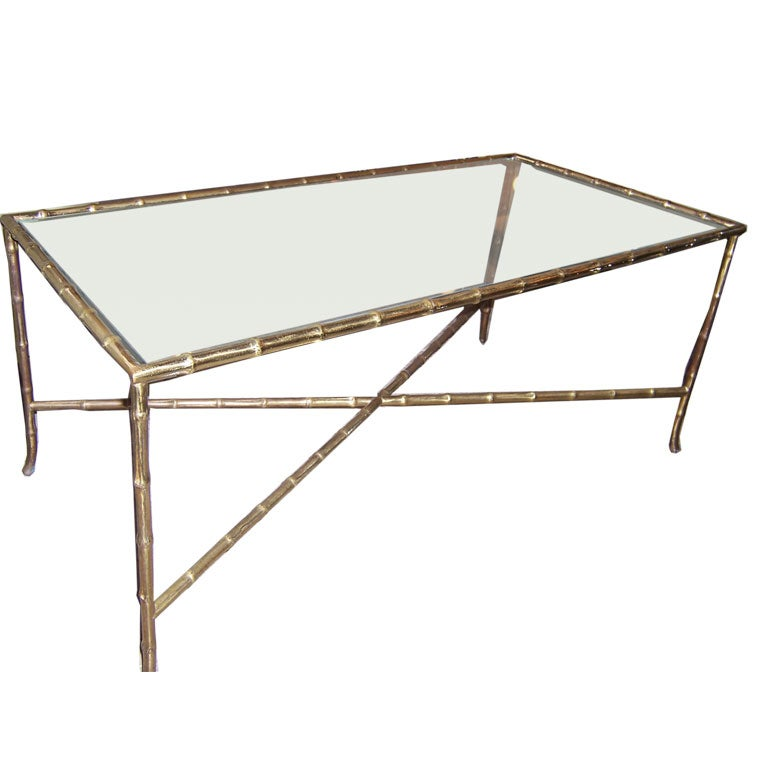 Solid Brass Faux Bamboo Coffee Table For