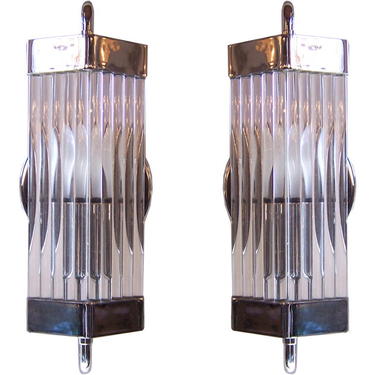 Glass Rod Wall Sconces : Pair Glass Rod Sconces at 1stdibs