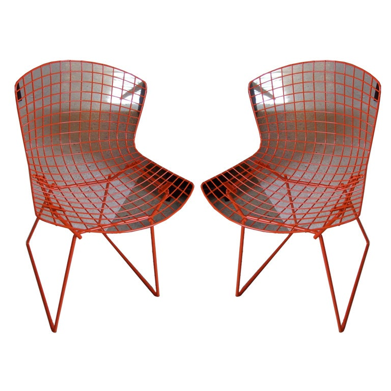Pair Burnt Orange Bertoia Chairs
