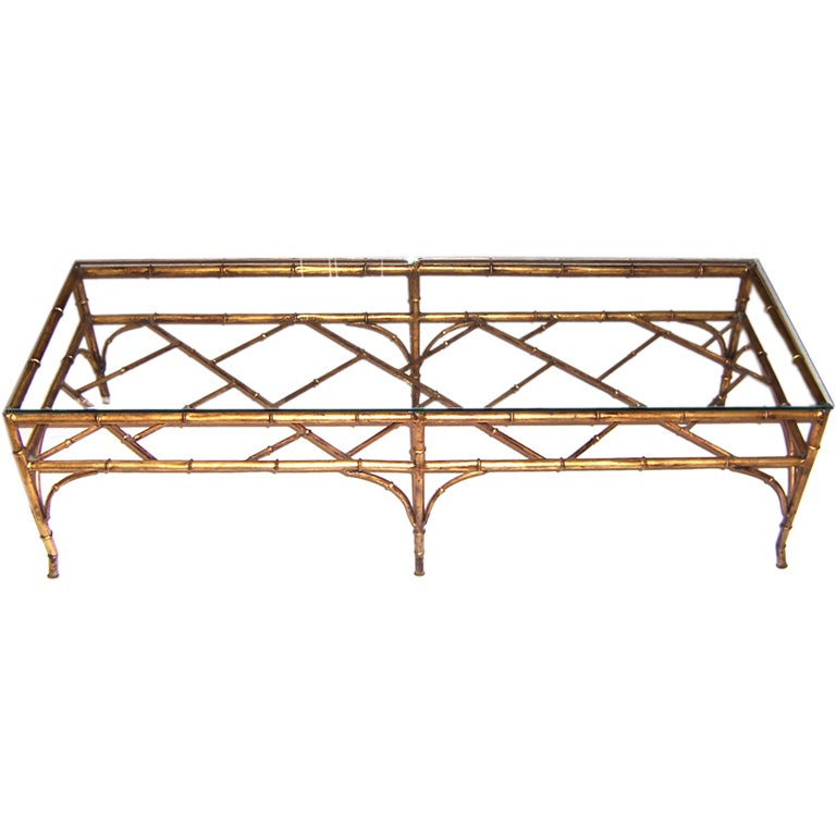 Gilt Faux Bamboo Coffee Table At 1stdibs