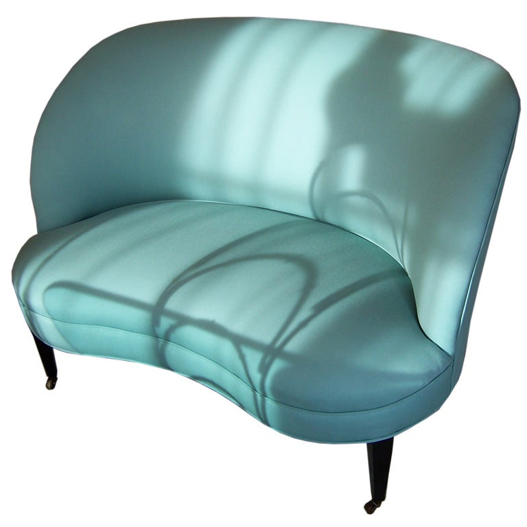 Sweet Teal Loveseat At 1stdibs