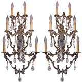 Pair of Huge Six Light Brass and Crystal Hollywood Regency Sconces