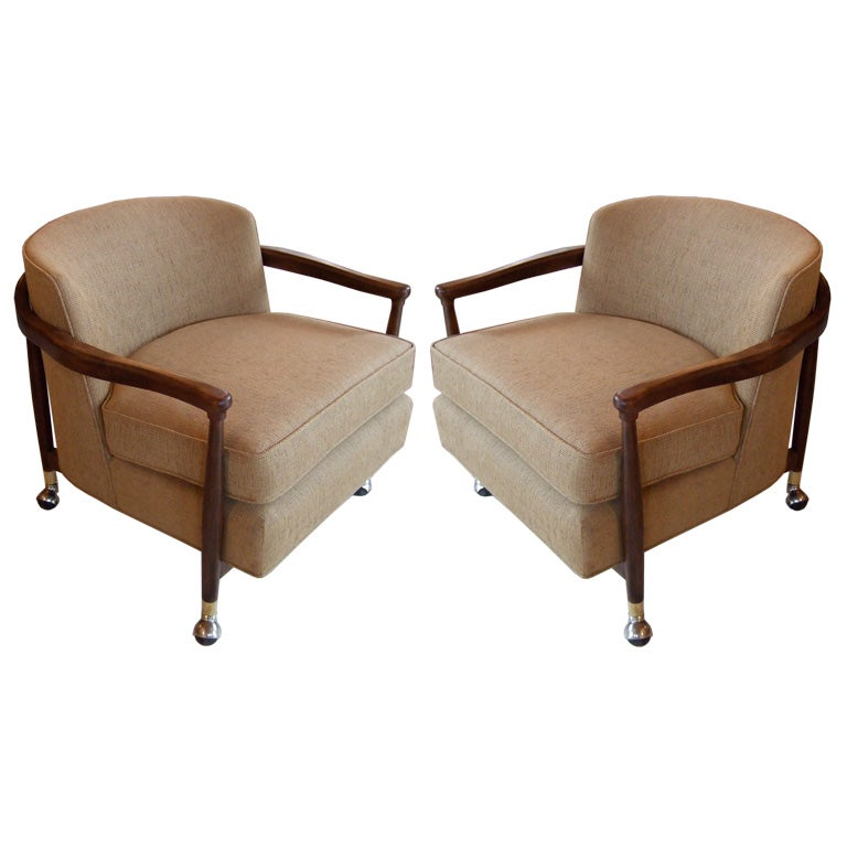 Pair of upholstered barrel chairs at 1stdibs