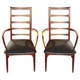 Pair of Danish high back armchairs