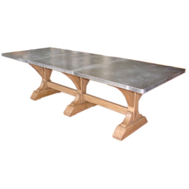Zinc top trestle base dining table at 1stdibs : porgoct1108057 from www.1stdibs.com size 608 x 608 jpeg 17kB