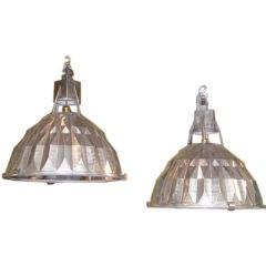 Pair of aluminium industrial lights
