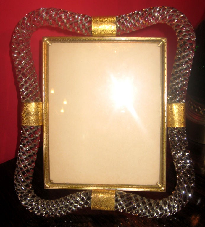 venetian twisted glass picture frame and tray set at 1stdibs