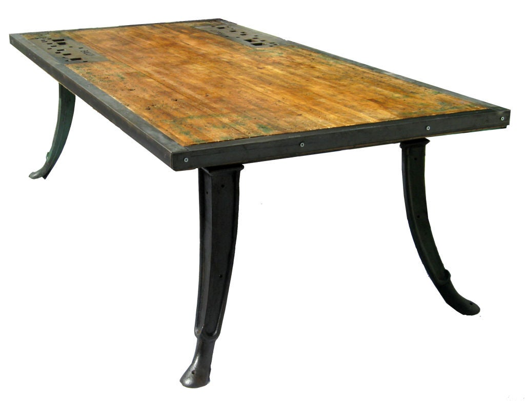 Twelve people industrial dining table at 1stdibs - Industrial kitchen tables ...