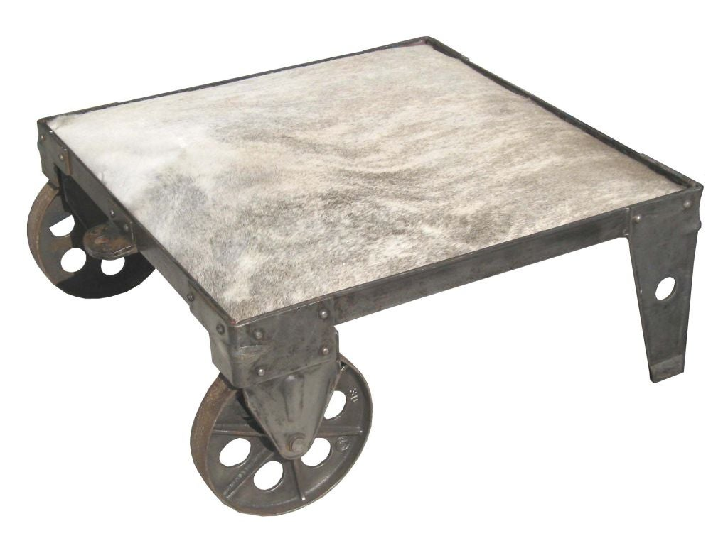 Metallic Patina Cowhide Top Industrial Coffee Table Ottoman At 1stdibs