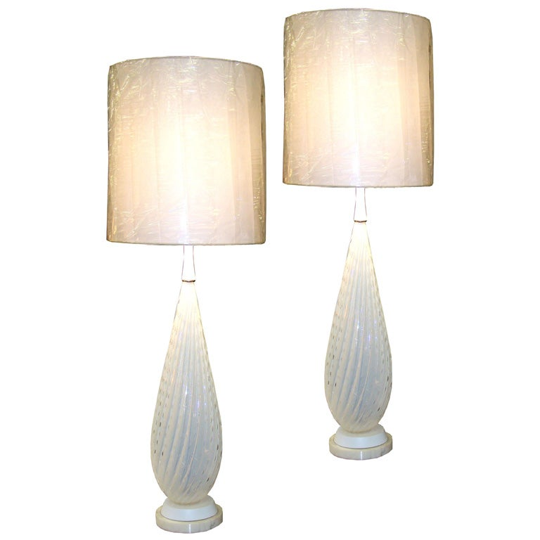 tall opaline venetian side table lamps at 1stdibs. Black Bedroom Furniture Sets. Home Design Ideas