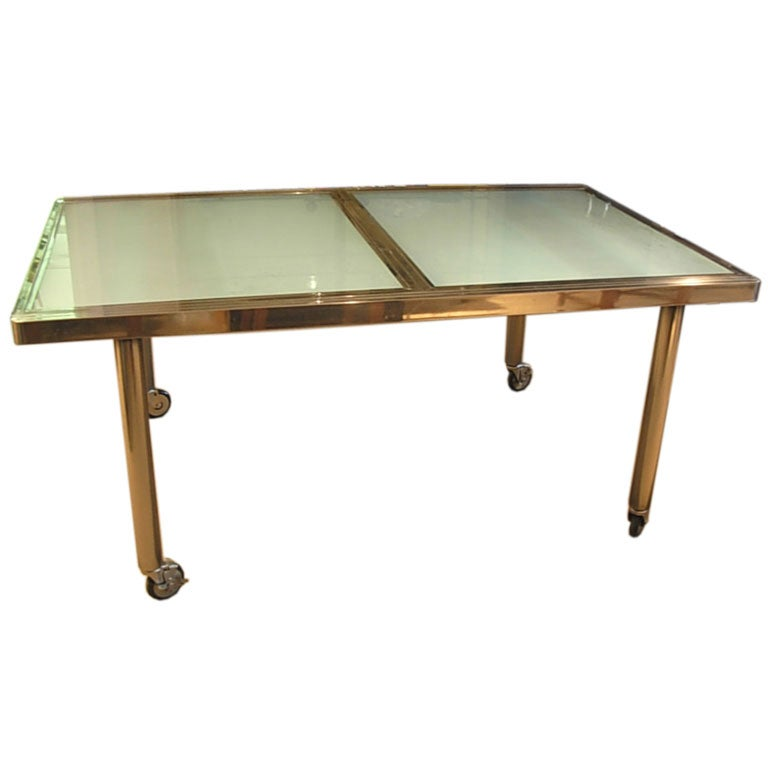 Metal and glass dining table with extension leaf at 1stdibs for Dining room table replacement leaf