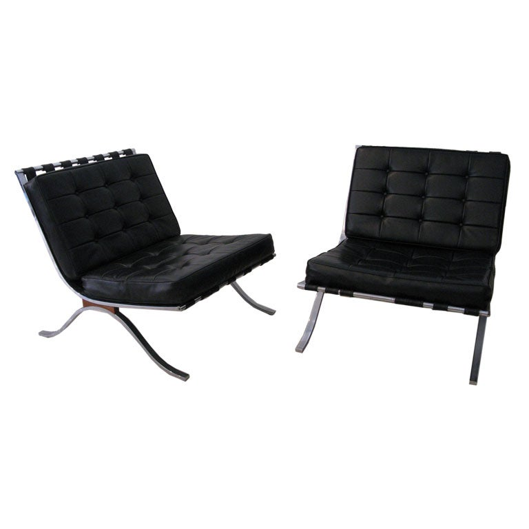 pair of barcelona style chairs after mies van der rohe at. Black Bedroom Furniture Sets. Home Design Ideas