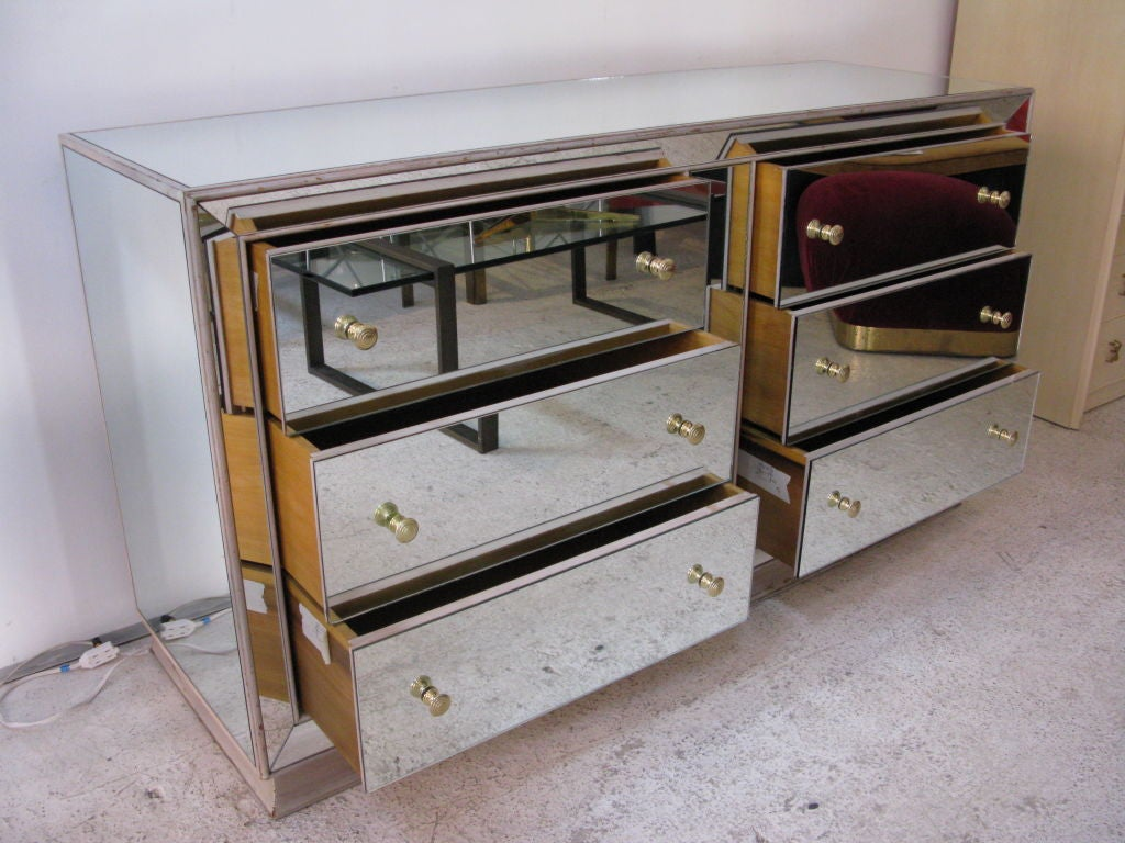 Mirrored Glass Dresser At 1stdibs