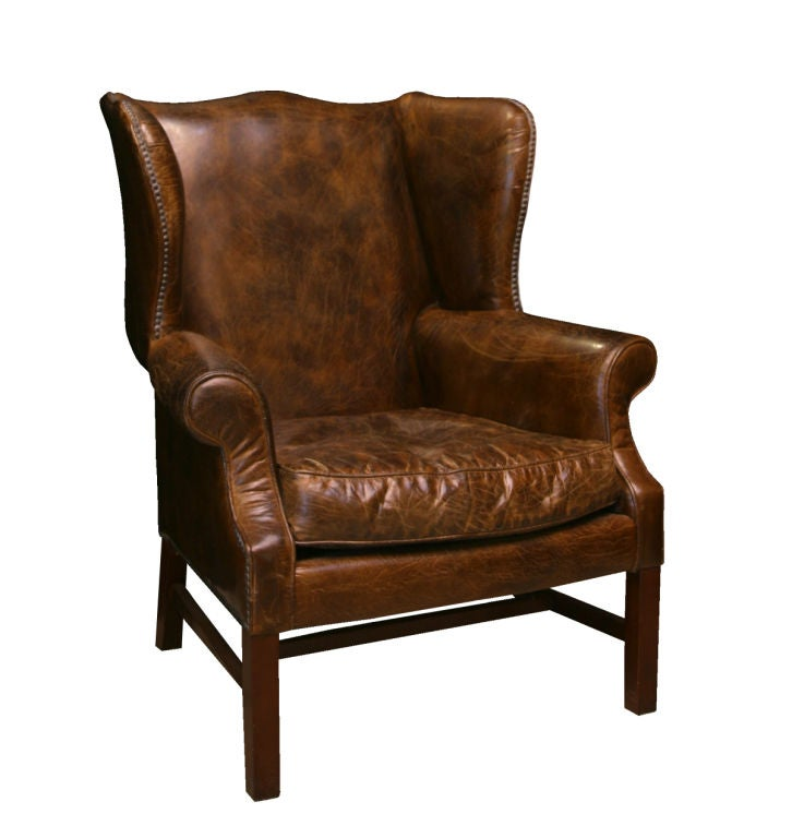 Impressive distressed leather wing back chair at 1stdibs for Wing back recliner chair