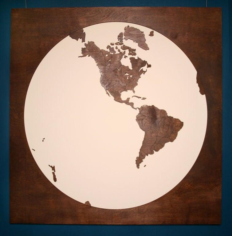 Hemispheres A World Of Fine Furnishings: Wooden Eastern And Western Hemisphere Map At 1stdibs