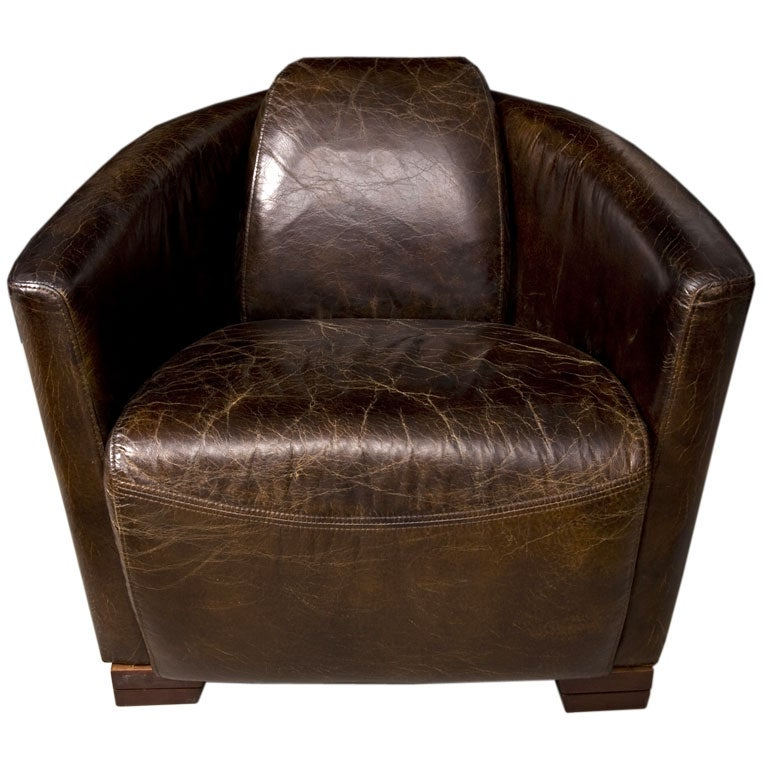 Beautiful distressed leather rocket chair at 1stdibs