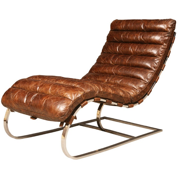 Distressed italian leather chaise longue at 1stdibs for Black leather chaise longue
