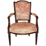 French Louis XVI Walnut Fauteuil