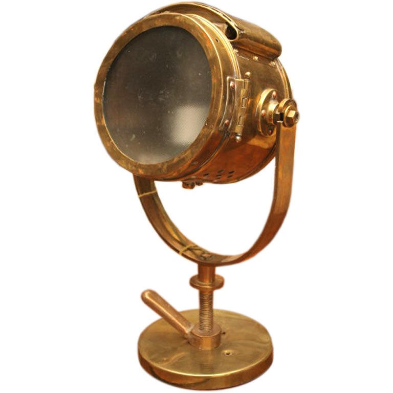 antique nautical brass searchlight at 1stdibs. Black Bedroom Furniture Sets. Home Design Ideas
