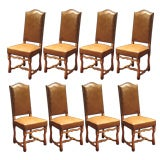 Set of 8 Louis IV Style Leather Dining Chairs