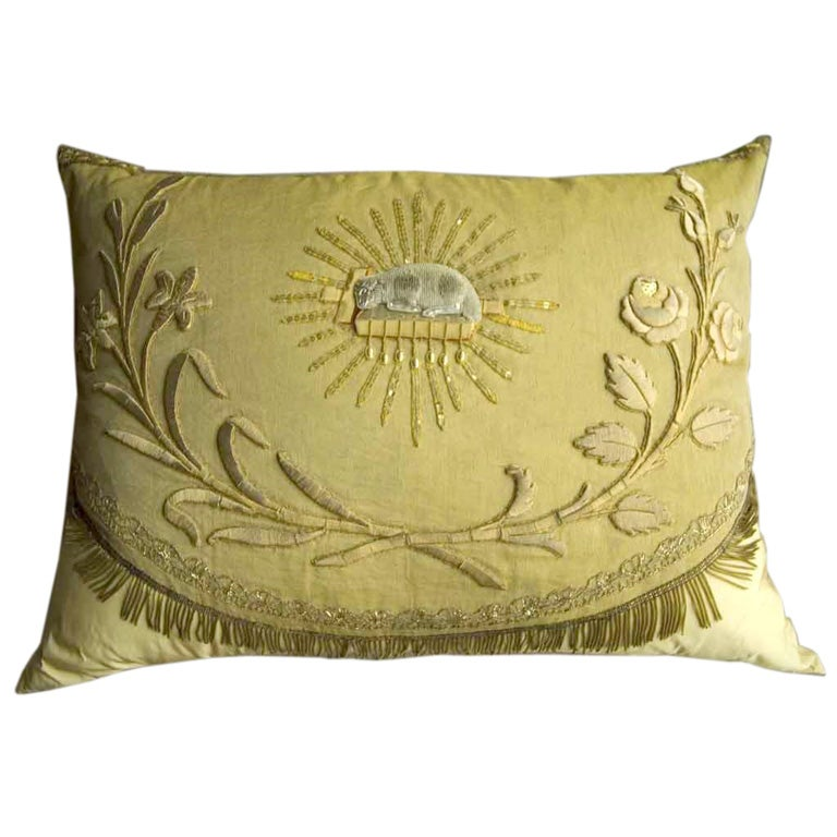 19th C French Ecclesiastic Fragment Pillow 1
