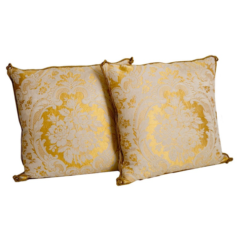 Ultra Modern Pillows : Pair of 19th C French Ecclesiastic Fragment Pillows at 1stdibs