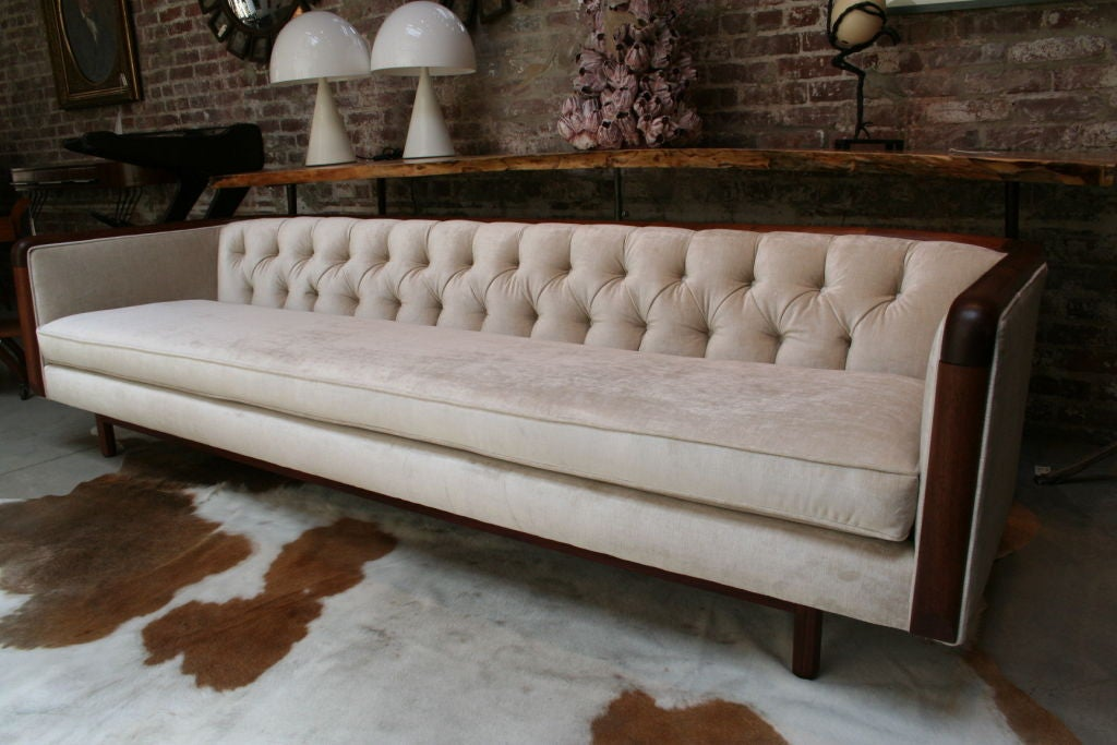 Extra long 60 39 s capitone sofa at 1stdibs for How long is a loveseat