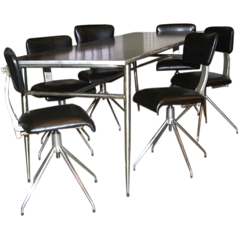 industrial dining table and six chairs at 1stdibs