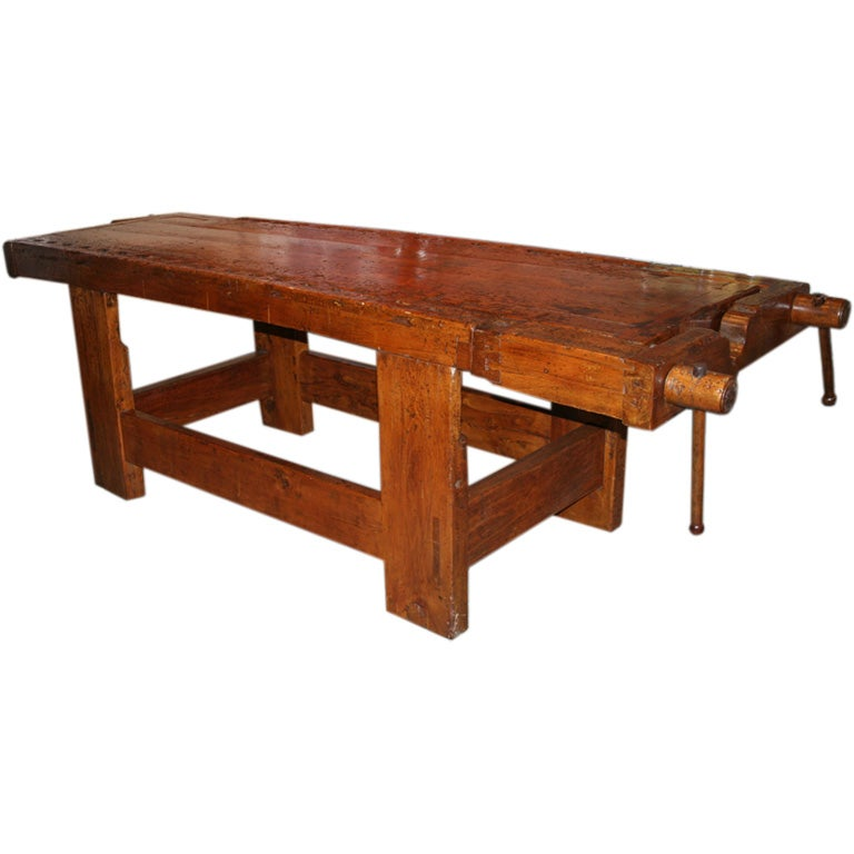 s Italian Wooden Carpenters Bench with Three Working Vices