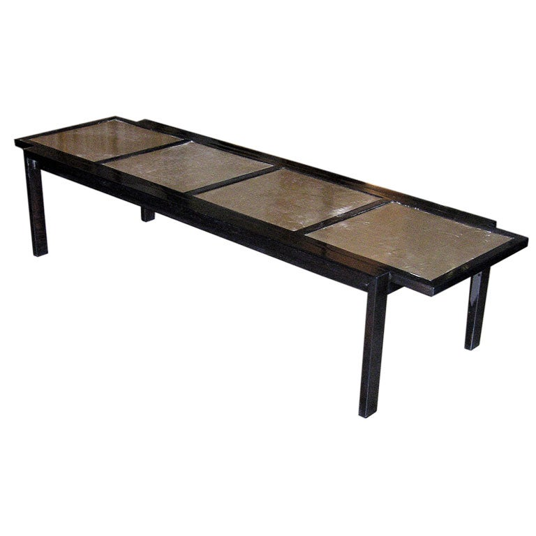 Silver leaf and ebonized lacquer coffee table by widdicomb for Lacquer coffee table